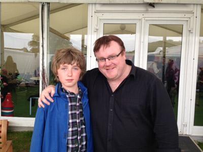Cameron Roberts with Derek Landy
